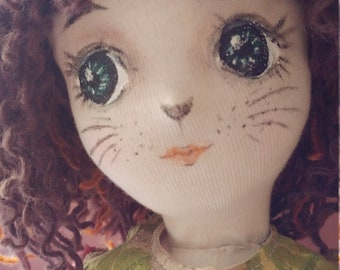 A doll made only of natural materials in the world. Cat ear doll, fabric doll, cloth doll, wool 100%, Ooak 100% wool.