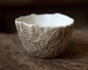 Earthy rustic small porcelain bowl with great texture.  Planter, prep bowl, home decor.
