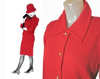 Red Knit Suit for Women Pencil Skirt, Matching Short Jacket 90s Cardigan with Collar, Womens MEDIUM, Knee Length Classic Versatile Separates