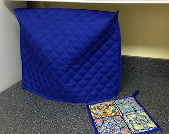 Royal Blue Kitchen Mixer Cover with FREE Mexican Talavera Tiles Potholder Ready To Ship Next Business Day