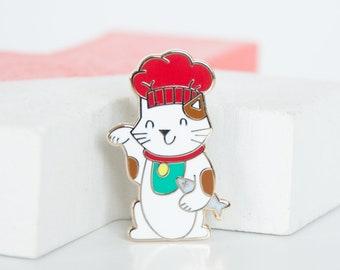 Maneki Neko Cat Enamel Pin, Gold Lucky Cat Lapel Pin, Japanese Good Luck Cat, Funny Chef Lucky Cat, Hard Enamel Pins, Gold Animal Pins