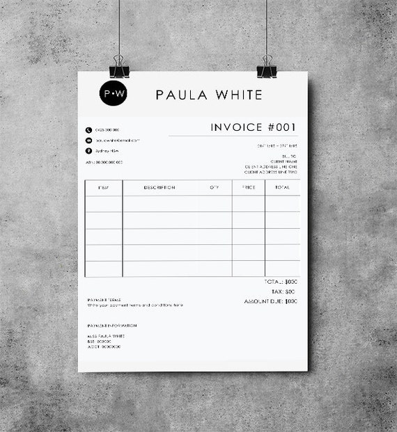 Invoice Template Receipt MS Word And Photoshop Template - Word templates invoice women's clothing online stores