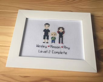 Personalised Custom Pixel Gift Portrait Wall Art - Personalised Pixel People Gift - Family Pet Portrait - Cross Stitch Pixel People Art