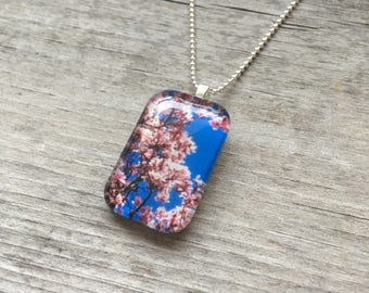 Magnolia Tree * Glass Pendant * Magnolia Blossoms * Blue Skies * I Love Pink * Necklace * Handmade Jewelry * Springtime * Gifts for her