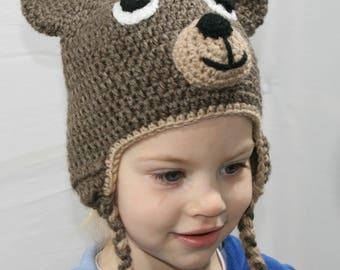 Teddy Bear Hat, Crochet Bear Beanie, Earflap Beanie, Crochet Baby, Toddler Hat, Animal Hat, Handmade, Birthday Gift, Brown Bear Hat