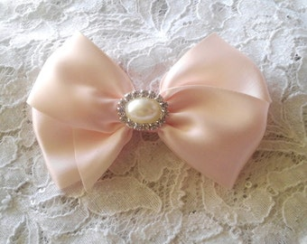 Blush Satin Hair Bow with Rhinestone and Pearl Center, Sparkle Flower Girl Hair Bow, Holiday Hair Bow, Christmas Bow, Pageant Bow