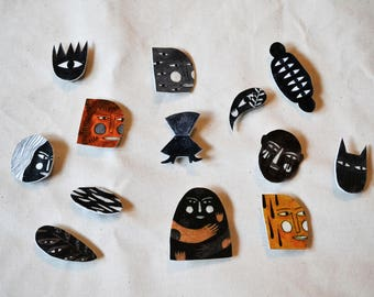 Painted plastic pins