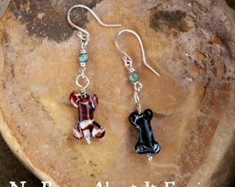Dog Bone Memorial Earrings, Ashes in Glass, Pet Memorial, Cremation Jewlery