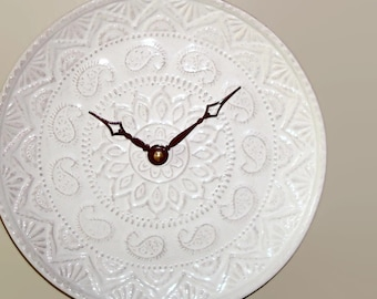 Whitewash Lacy Wall Clock SILENT - 8-1/2 Inches, Kitchen Wall Clock, Stoneware Plate Clock, Unique Wall Clock - 2225