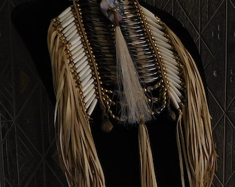 Deerskin Fringed Breastplate Choker Necklace with Decorative Bone Hair Pipe Beads and Abalone Shell Disk with Horsehair Scalp lock