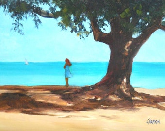"""Oil Painting, """"Anna Maria Reverie,"""" 5x7 Oil on Canvas, Seascape with Figure"""
