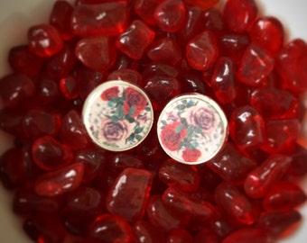 Rose Bouquet Earrings, Wooden Rose Earrings, Rose Bouquet Studs, Floral Earrings, Floral Studs, Floral Jewelry, Roses, Boho Floral Earrings