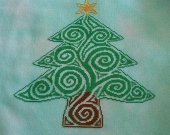 Tribal Christmas Tree Cross Stitch Pattern
