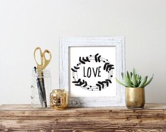 Love Wreath Print, Printable, Wreath, Love, Printable, Digital Download, Digital Print, Home Decor