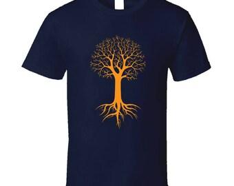 Winter Tree Roots Silhouette Men's T Shirt | Outdoors Men's Shirt | Nature Men's T-Shirt | Men's Graphic Tee | Tree Men's Navy Blue Tee