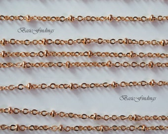 10 Meters, Rose Gold Satellite Chain, 235SF-Ball, Rose Gold Plated Brass Chain,  Basic Fashion Jewelry Chain, Quality Chain
