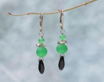 Green and Black Glass Drop Earrings