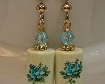 Vintage Japanese RARE Tensha Blue Rose Porcelain Barrel Bead Earrings, Vintage Blue Crystal Beads ,Gold French Ear Wires -GIFT WRAPPED