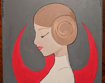 Disney Inspired Princess Leia from Star Wars 8x10 Painting on Canvas with Acrylic Paint