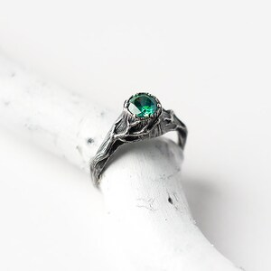 Emerald Ring, Witch Jewelry, Emerald Engagement Ring, Green Gemstone, Tree Stump with Branches, Forest, Tree Bark, Silver Twigs