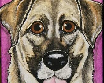 Custom Pet Portrait Painting 8x10, pet memorial, pet loss, dog, cat, gift