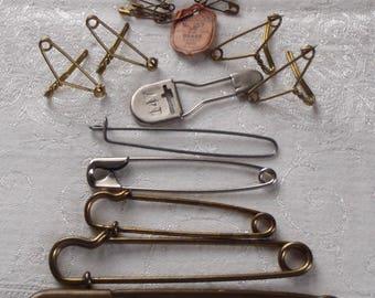 Vintage Metal Safety Pin Assortment