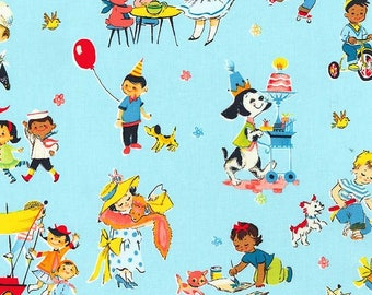 Playtime fun in blue from the Playtime fun retro fabric collection by Michael Miller Fabrics - CX7628-PINK-D