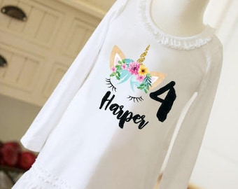 Unicorn birthday dress with name and digit for girl