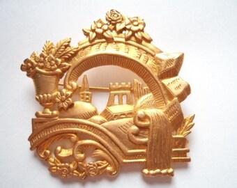 Vintage Signed JJ Gold pewter Fantasy Island Brooch/Pin