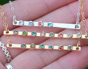 BIRTHSTONE BAR NECKLACE - gold birthstone bar Necklace - Birthstone Bar Necklace - Gold Bar - Gold Bar Necklace - Bar Jewelry - Bar