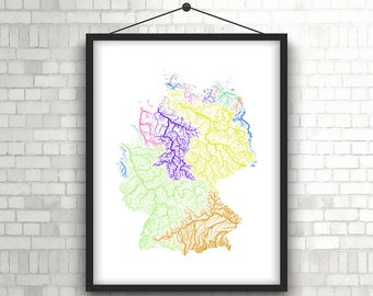 River basins of Germany in rainbow colours (high resolution digital print) map print, wall art, poster map, home decor wall decor, printable