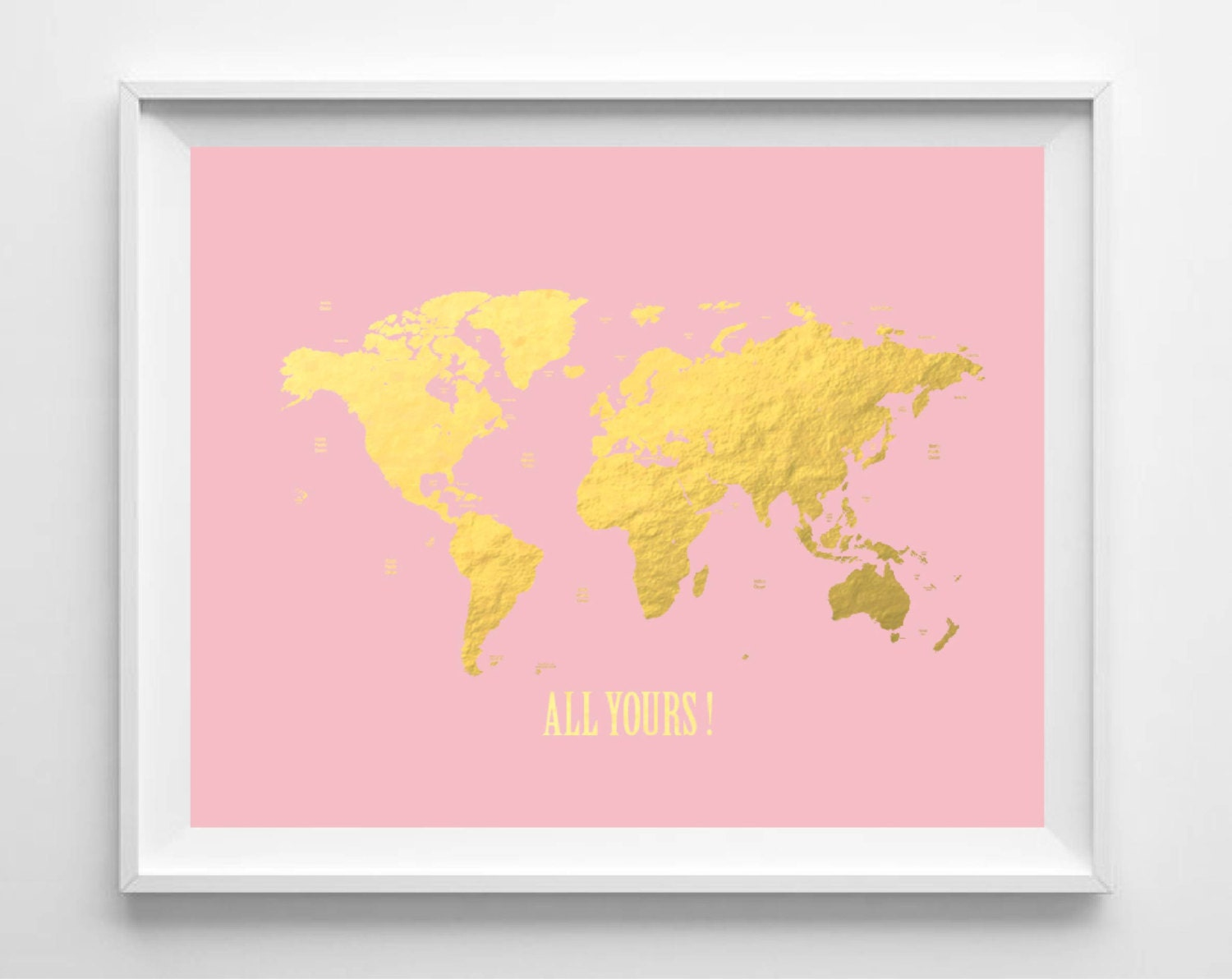 Printable World Map Print Blush Gold Foil Print Nursery Wall