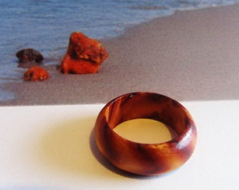 Wood wooden Ring 1.0 gr. Elegant gift  wedding for teens  adult women men ecological  medical noallergic
