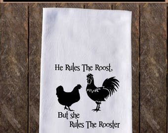 She Rules The Rooster Funny Dish Towels , Funny Tea Towels , Flour Sack Towel Kitchen , Custom Tea Towel Kitchen Towel KC118