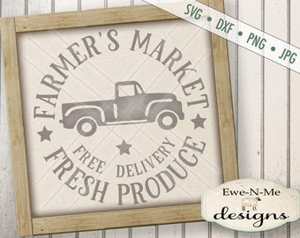 Farmers Market SVG - kitchen svg - Fresh Produce svg - old truck svg -  Free Delivery svg - Commercial Use Allowed -  svg, dxf, png, jpg