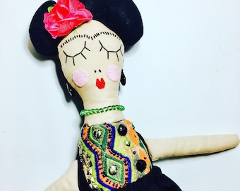 Frida Doll, Limited Edition, Mexican Artist, Heirloom doll, cloth doll, rag doll, artist, frida, dollmaker