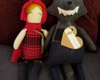 Handmade Red Riding Hood & Big Bad Wolf Set