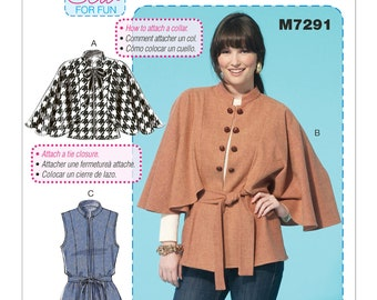 McCall's M7291 Size 4-14 or 16-26 Misses Capelets, Vest and Belt Sewing Pattern / Uncut FF