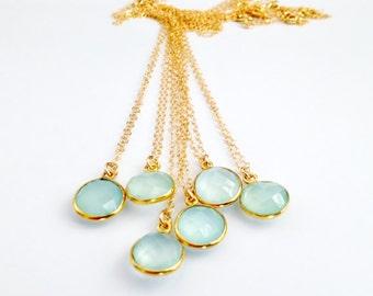Aqua Chalcedony Gold Filled Necklace - Seafoam Gem Stone
