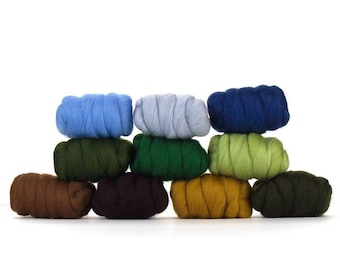 Merino Wool Top - 22.5 micron - Country Garden Sample Pack - 8.75 ounces