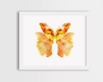 Orange butterfly print, watercolor butterfly art, colorful butterfly wall art, butterfly painting, orange butterfly illustration