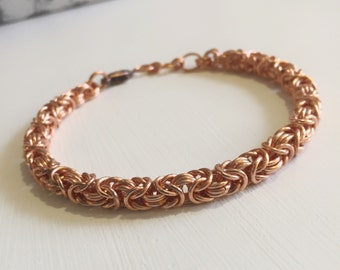 Copper Bracelet, Mens Bracelet, Mens Gift, Mens Copper Bracelet, Chainmaille, Byzantine Jewelry, Copper Bracelet Men, Copper Chain Jewellery