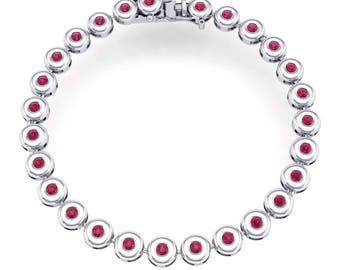 Tiny Bezel-Set Ruby Tennis Bracelet, Ruby Bracelet, Bezel-Set Bracelet, Tiny Bracelet, Bezel-Set Tennis Bracelet, Gift For Her, Present