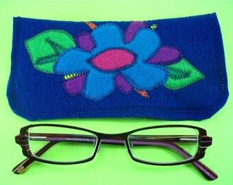Funky Flower Felt Eyeglass Case