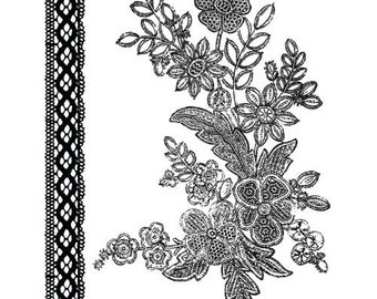 Prima ROSARIAN COLLECTION Mix 2 - Clear Acrylic Stamps 2 pcs Lace Floral 559489