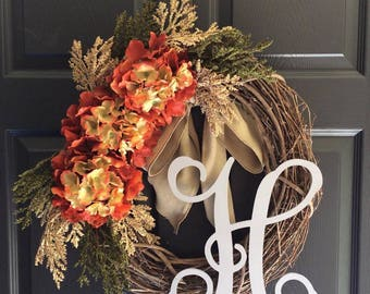 Fall Wreath - Fall Front Door Wreath - Fall Monogram Wreath - Fall Door Wreath - Fall Wreath with Monogram - Initial Wreath - Fall Decor
