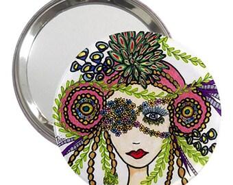 Unique Pocket Mirror for your Handbag, Purse or Cosmetic Bag * Fashion Illustrated Makeup Mirror in Velvet Pouch * Handbag mirror w/Panache