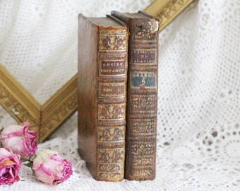 Set of 2 Antique French Leather Bound Books - 18th Century - Paris