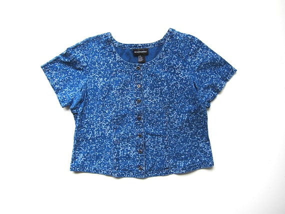 Boxy Denim Shirt | Inky Blue Button Up Jean Top Vintage 90s Cropped Floral Printed Denim Tee Crop Top Basic Summer Womens XL