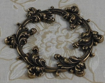 LuxeOrnaments Oxidized Brass Filigree Leaf Floral Wreath Focal 51x45mm (1 pc) F-2830-5-B